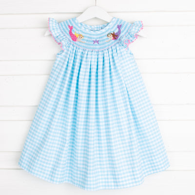 Mermaid Smocked Dress Aqua Check