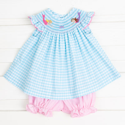 Mermaid Smocked Bloomer Set Aqua Check