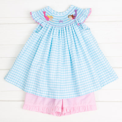 Mermaid Smocked Short Set Aqua Check