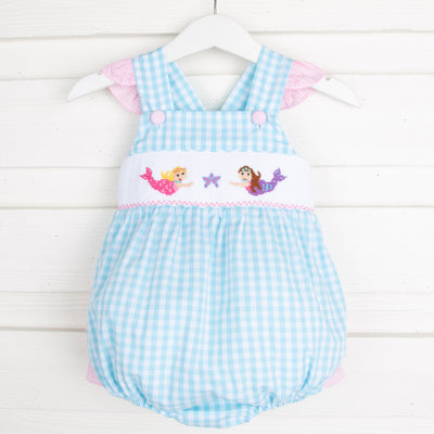 Mermaid Smocked Ruffle Bubble Aqua Check