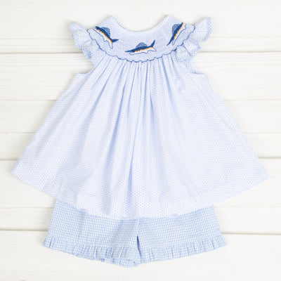 Sailfish Smocked Short Set Light Blue Dot