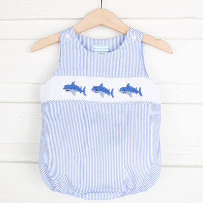 Shark Smocked Sun Bubble Light Blue Stripe