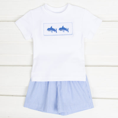 Shark Smocked Short Set Light Blue Stripe