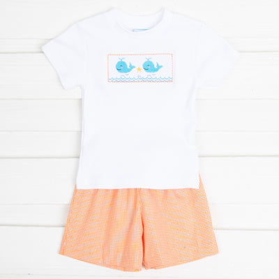 Whale Smocked Short Set Orange Gingham Seersucker