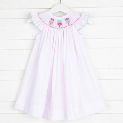 Popsicle Smocked Dress Light Pink Dot