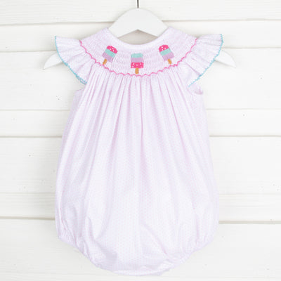 Popsicle Smocked Bubble Light Pink Dot