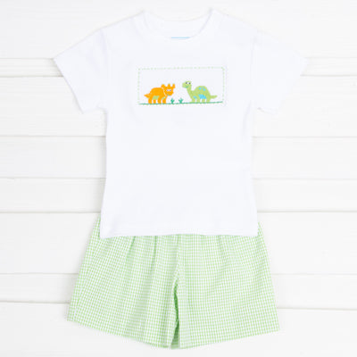 Dinosaur Smocked Short Set Green Gingham Seersucker