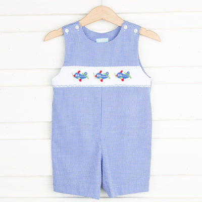 Airplane Smocked Jon Jon Royal Gingham
