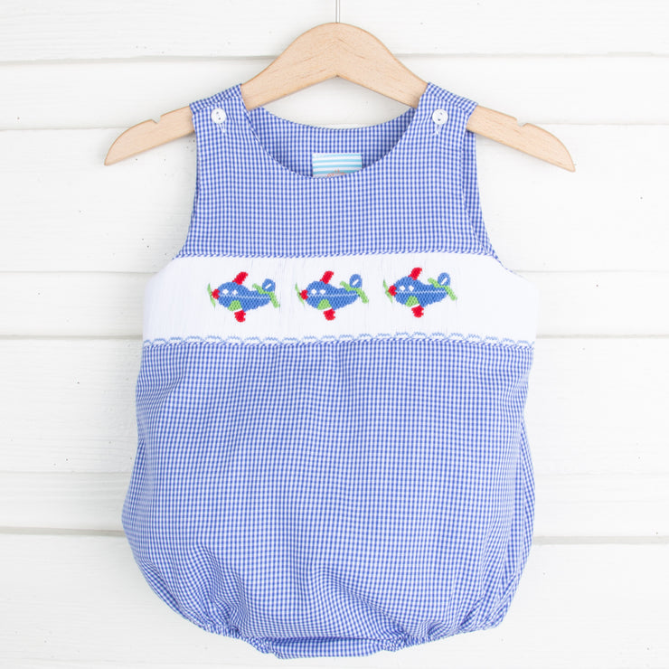 Airplane Smocked Sun Bubble Royal Gingham