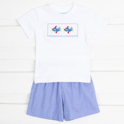 Airplane Smocked Short Set Royal Gingham