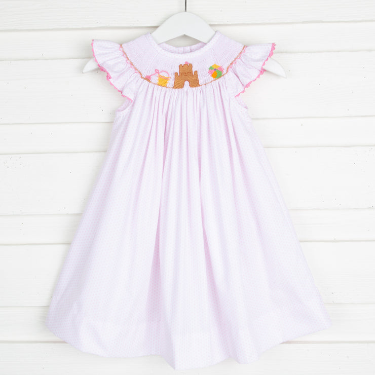 Sandcastle Smocked Dress Light Pink Dot