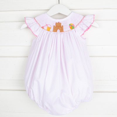 Sandcastle Smocked Bubble Light Pink Dot