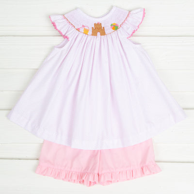 Sandcastle Smocked Short Set Light Pink Dot
