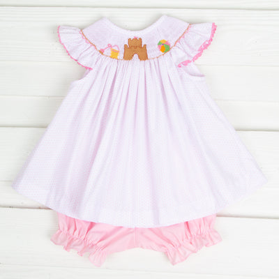 Sandcastle Smocked Bloomer Set Light Pink Dot