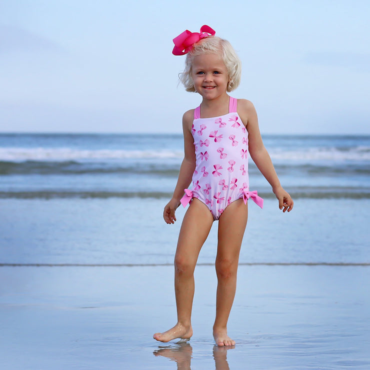 Pink Bow Print One Piece Swimsuit
