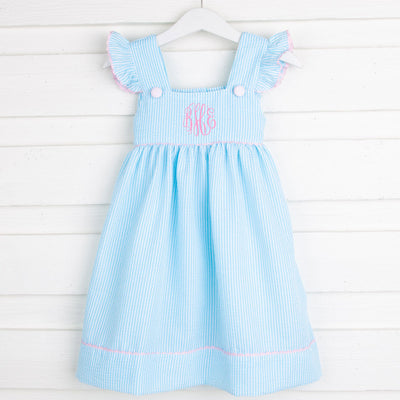 Turquoise Stripe Flutter Sleeve Dress