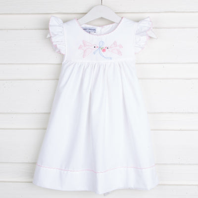 Shadow Stitch Bird Dress White