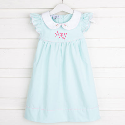 Rosebud Embroidered Dress Mint