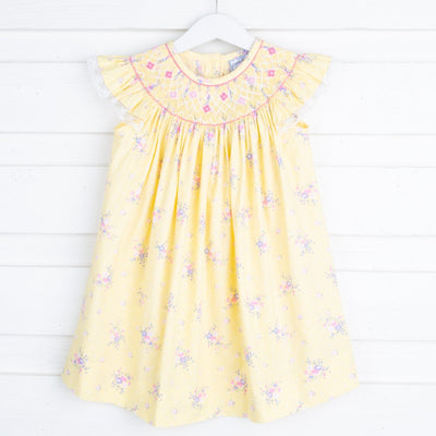 Spring Bouquet Geometric Smocked Bishop