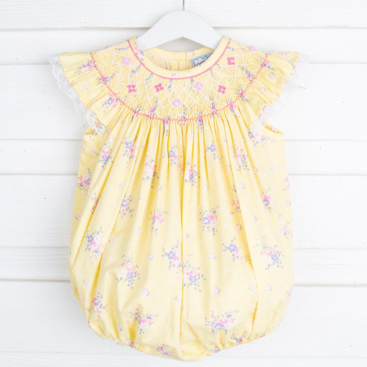 Spring Bouquet Geometric Smocked Bubble