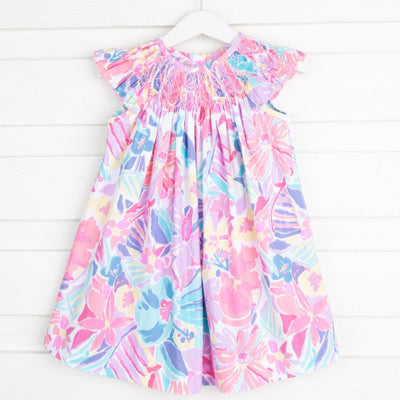 Plumeria Geometric Smocked Bishop