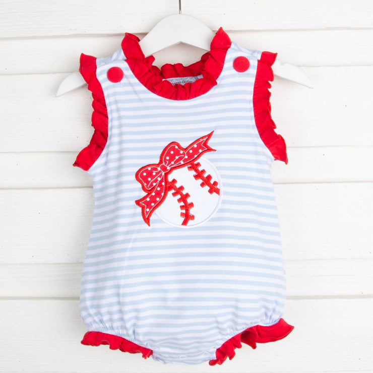 Baseball Applique Girl Bubble