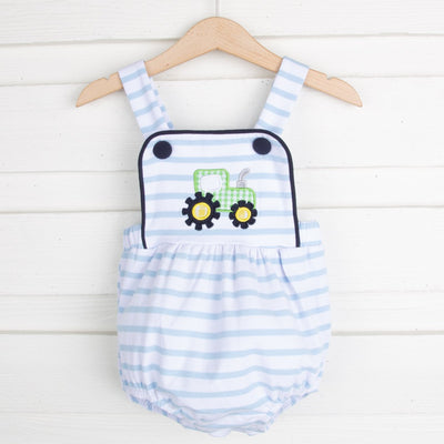 Tractor Applique Boy Sunsuit