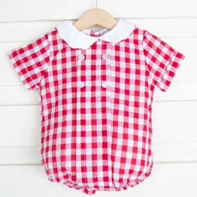 Red Gingham Seersucker Bubble
