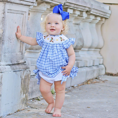 Storybook Rabbit Smocked Bloomer Set Blue Plaid