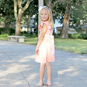 Eyelet Double Ruffle Dress Peach Pique
