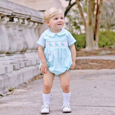 Bunny Silhouette Smocked Collared Boy Bubble Aqua Gingham