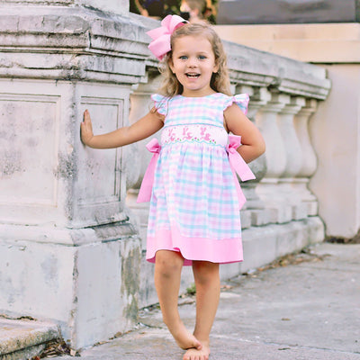 Bunny Silhouette Smocked Beverly Dress Plaid