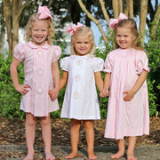 Cross Smocked Bishop Light Pink Pique