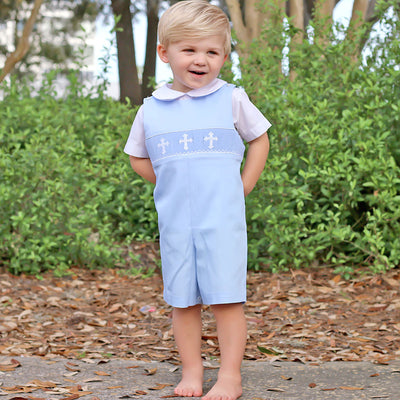 White Cross Smocked Jon Jon Light Blue Pique