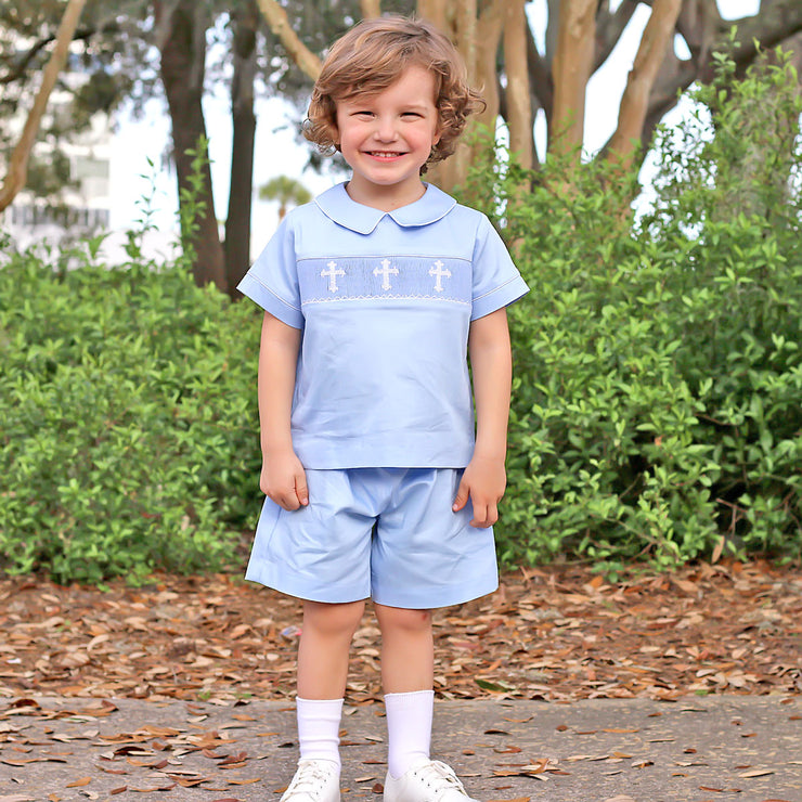 White Cross Smocked Short Set Light Blue Pique