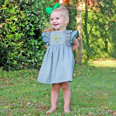 Baylor Embroidered Dress Check