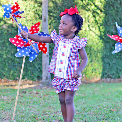 Red and Blue Plaid Angel Sleeve Bloomer Set
