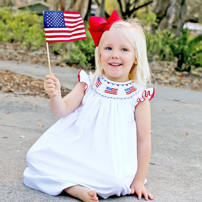 Flag Smocked Dress Solid White
