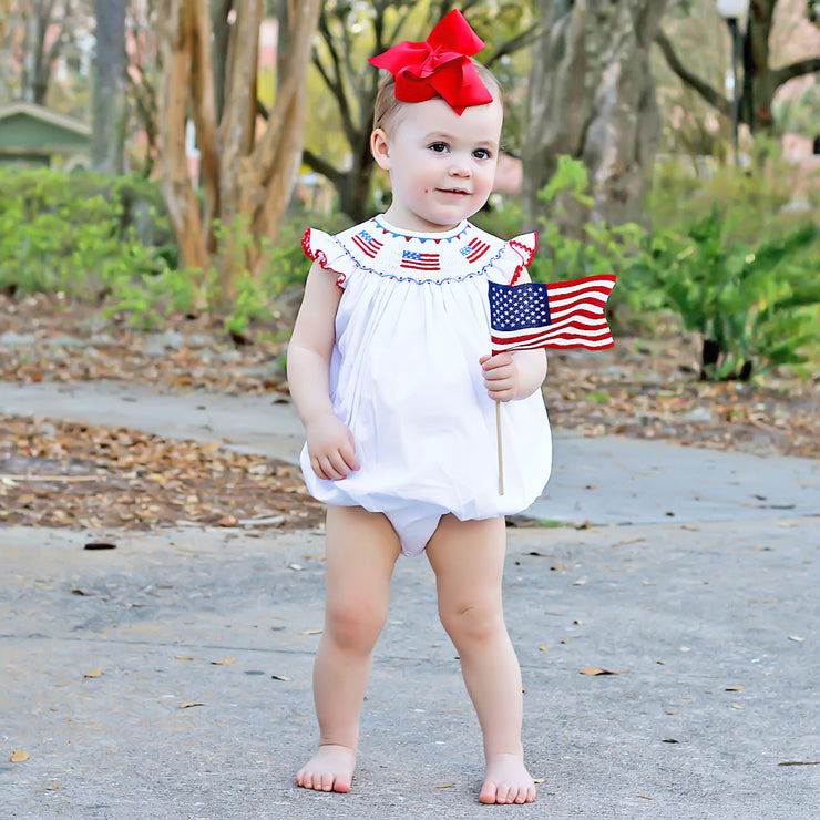 Flag Smocked Bubble Solid White