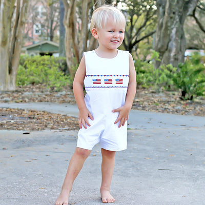 Flag Smocked Jon Jon Solid White