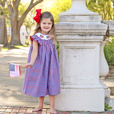 Patriotic Smocked Dress Plaid