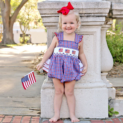 Patriotic Smocked Ruffle Bubble Plaid