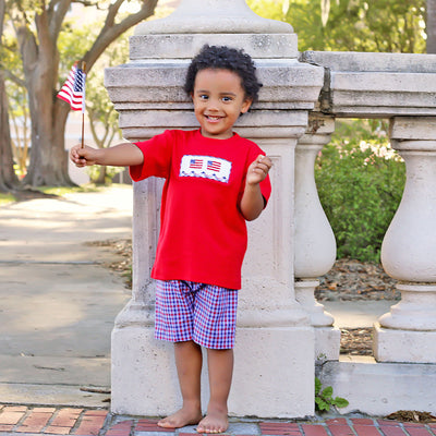 Patriotic Smocked Short Set Plaid