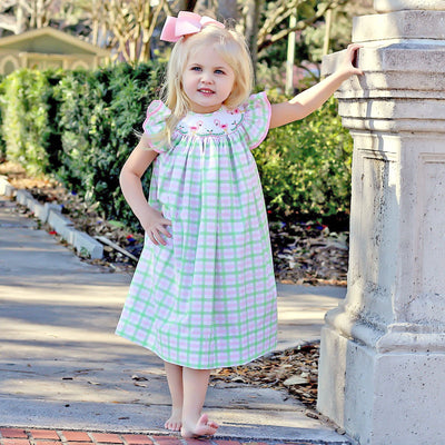 Flamingo Smocked Dress Pink and Green Plaid