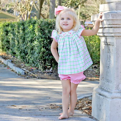 Flamingo Smocked Bloomer Set Pink and Green Plaid