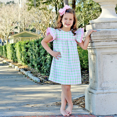 Ruffle Dress Pink and Green Plaid