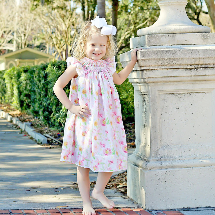 Pretty Peony Smocked Geometric Dress