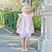 Pretty Peony Smocked Geometric Bloomer Set