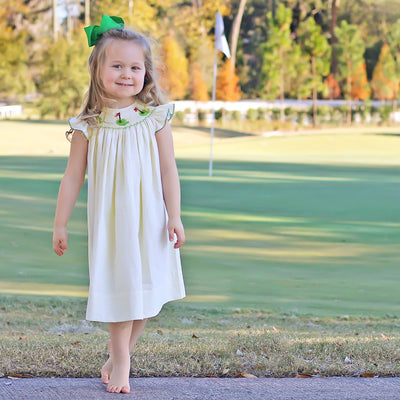 Golf Pin Smocked Dress Yellow Seersucker