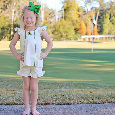 Golf Pin Smocked Short Set Yellow Seersucker